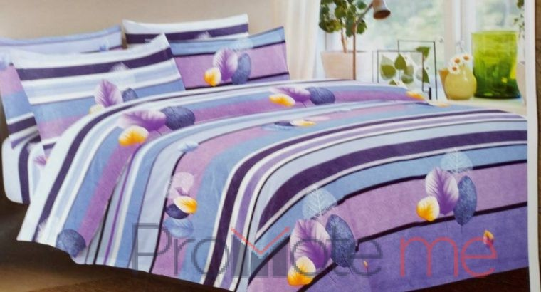 Leaf print stripped lilac Bedsheet with pillowcase