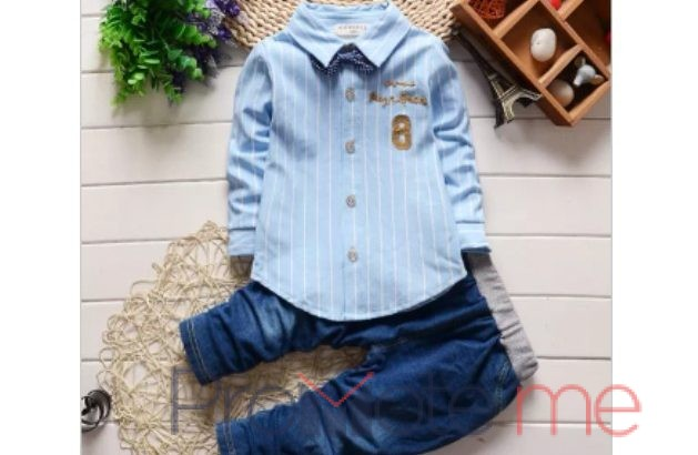 Boys quality button down shirt and tie with jean trouser