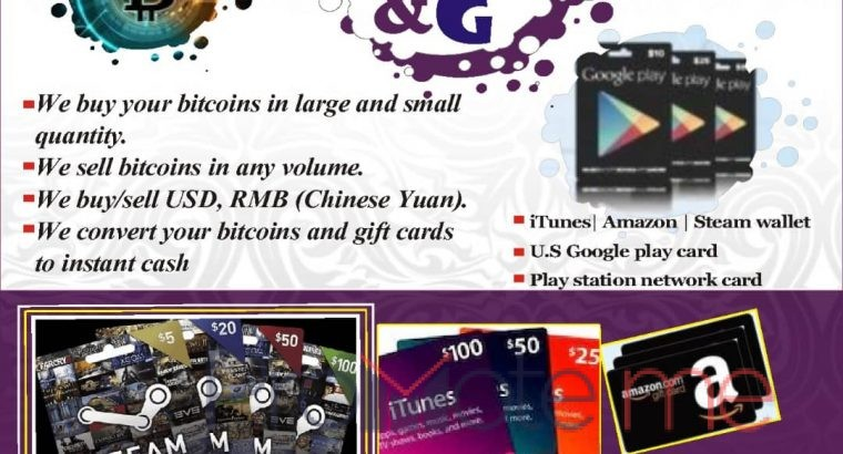We buy all kinds of gift cards and bitcoin small and in large
